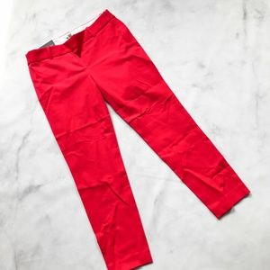 NWT J. Crew Winnie Pant City Fit Bright Red pcl